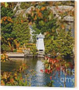 Lighthouse Through The Leaves Wood Print