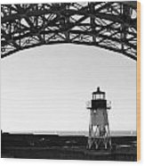 Lighthouse Under Golden Gate Wood Print