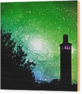 Lighthouse Under The Stars Xii Wood Print