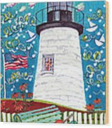 Lighthouse With Music Wood Print