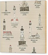Lighthouses Of The Great Lakes Wood Print