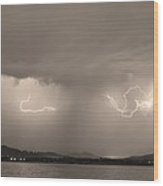 Lightning And Sepia Rain Over Rocky Mountain Foothills Wood Print by James BO  Insogna