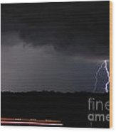 Lightning And Train Wood Print