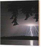 Lightning At Night Wood Print