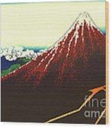 Lightning Below Red Fuji 1826 Wood Print