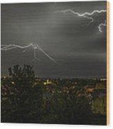 Lightning Crashes Wood Print