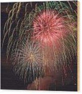 Lightning Fireworks Wood Print
