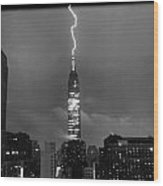 Lightning Hits Empire State Wood Print