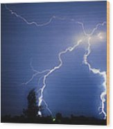 Lightning In Montrose Colorado Wood Print