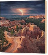 Lightning Over Bryce Canyon Wood Print