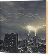 Lightning Over Downtown Yxe Wood Print by Gerald Murray Photography