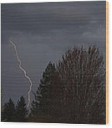 Lightning Over Grants Pass Wood Print