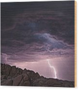 Lightning Over Jumbo Rocks Wood Print