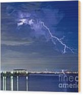 Lightning Over Safety Harbor Pier Wood Print
