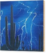Lightning  Over The Sonoran Wood Print