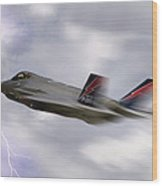 Lightning Speed Wood Print by Peter Chilelli