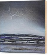 Lightning Storm Druridge Bay 1 Wood Print by Mike   Bell