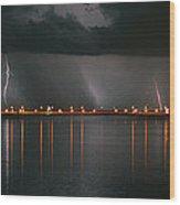 Lightning Storm Pano Work A Wood Print
