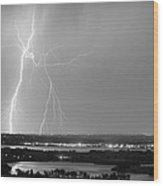 Lightning Strike Boulder Reservoir And Coot Lake Bw Wood Print by James BO  Insogna