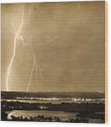 Lightning Strike Boulder Reservoir And Coot Lake Sepia 2 Wood Print by James BO  Insogna