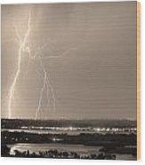 Lightning Strike Boulder Reservoir And Coot Lake Sepia Wood Print by James BO  Insogna