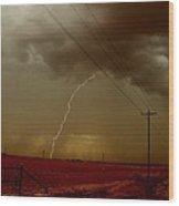 Lightning Strike In Oil Country Wood Print