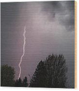 Lightning Strike Over Grants Pass Wood Print