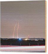Lightning Strikes Next To Highway Panorama Wood Print