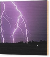 Lightning Striking During A Storm Wood Print