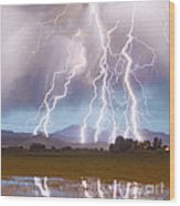 Lightning Striking Longs Peak Foothills 4c Wood Print by James BO  Insogna