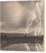 Lightning Striking Longs Peak Foothills Sepia 4 Wood Print