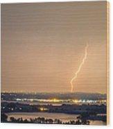 Lightning Striking Over Coot Lake And Boulder Reservoir Wood Print by James BO  Insogna