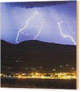 Lightning Striking Over Ibm Boulder Co 3 Wood Print
