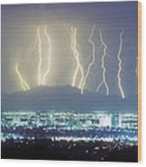 Lightning Striking Over Phoenix Arizona Wood Print