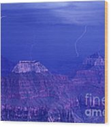 Lightning Strkes At The North Rim Grand Canyon National Park Wood Print
