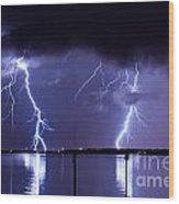 Lightning Over Tampa Causeway Wood Print
