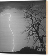 Lightning Tree Silhouette Black And White Wood Print