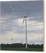 Lightning Turbine Wood Print