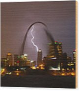 Lightning With The St Louis Arch Wood Print