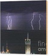 lightnings over Genova Wood Print