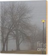Lights And Fog Setting The Mood Wood Print
