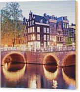 Lights Of Amsterdam Wood Print