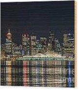 Lights Of Vancouver Wood Print
