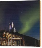 Lights Over Princess Denali Lodge Wood Print