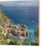 Ligurian Coast View At Vernazza Wood Print