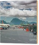 Lihue Airport With Cumulus Clouds In Kauai Hawaii  Wood Print