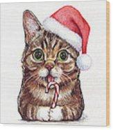 Cat Santa Christmas Animal Wood Print