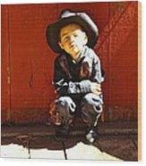 Lil Cowboy Afternoon Wood Print