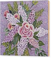 Lilac And Rose Bouquet Wood Print