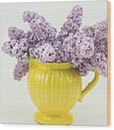 Lilac Boquet - Yellow Vase Wood Print